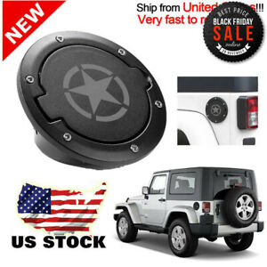 For Jeep Wrangler JK 07-18 Unlimited Black Fuel Filler Door Cover Gas Tank Cap