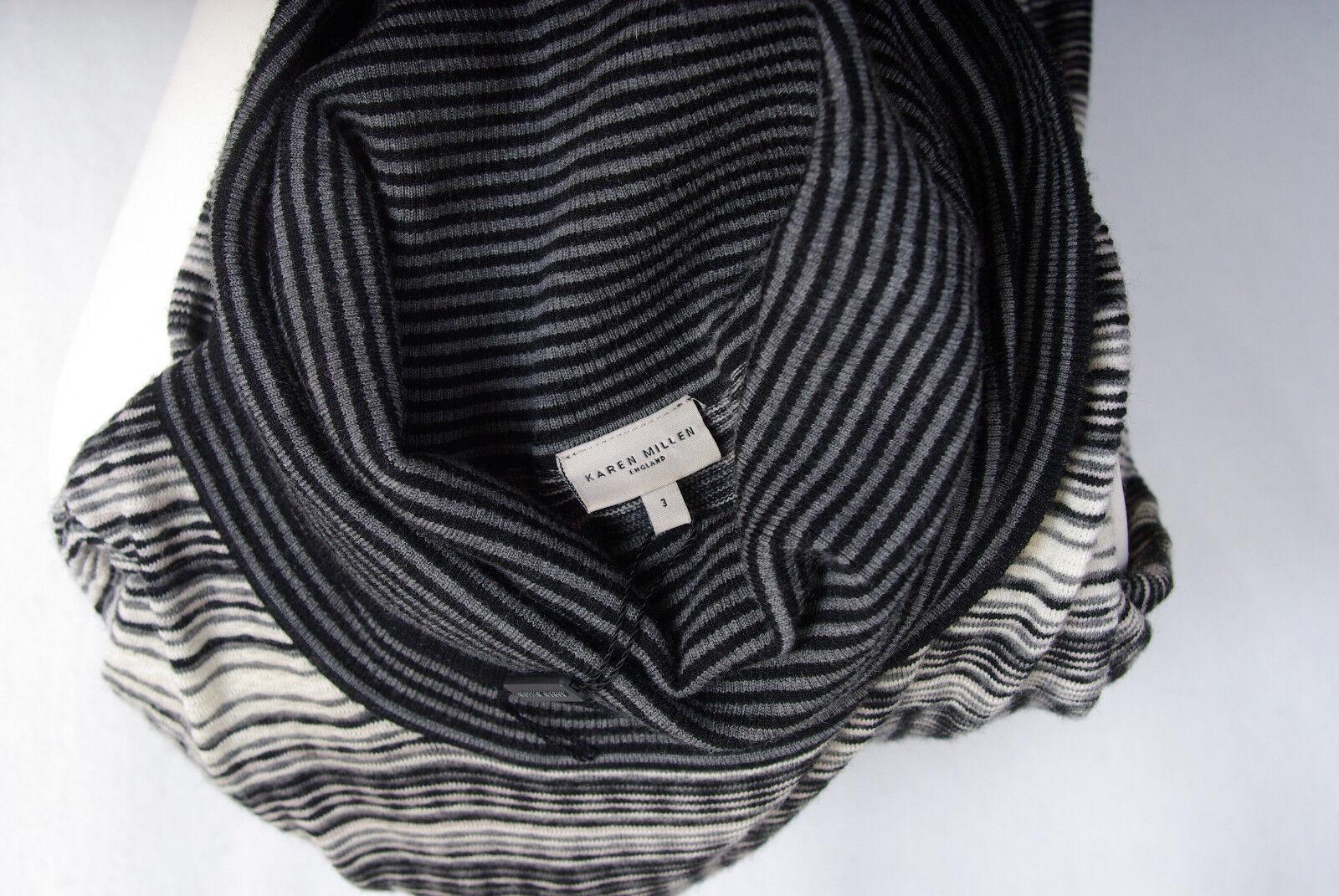 P417 21 Karen Millen Melange Grey Grey Grey Merino Wool Sexy Fitted Jumper Dress, size 3 6e4910