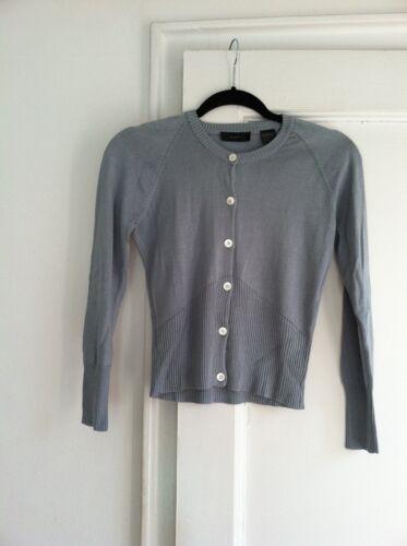 Slate maniche seta in Cardigan manica lunghe a lunga rotondo S Nima con scollo blu qXUx747