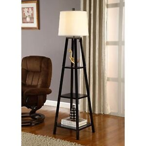 Image Is Loading Floor Lamp With Shelves Fabric Shade Bookcase Reading