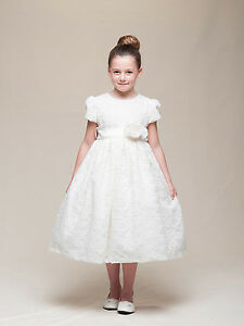 Stunning-Ivory-Lace-Flower-Girl-Pageant-Dress-w-Rose-Flower-Crayon-Kids-USA