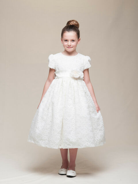 Stunning Ivory Lace Flower Girl Pageant Dress w/Rose Flower Crayon Kids USA