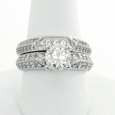 CZ Engagement Silver Ring Set Vintage Style 6.5mm Solitaire Sterling 18K Plate