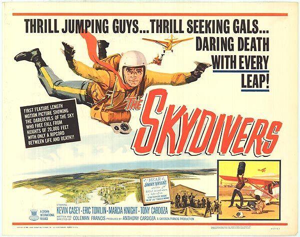 THE SKYDIVERS original 1963 22x28 movie poster SKY DIVING PARACHUTING