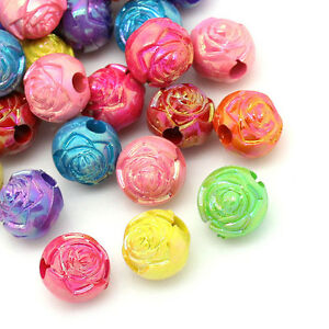 100-Mix-Acryl-Rund-Rose-Blumen-Spacer-Beads-Kugeln-Mehrfarbig-Basteln-10mm