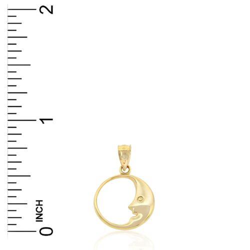 Gold Crescent Moon Charm 14k or Massif Charme Amérique Bijoux
