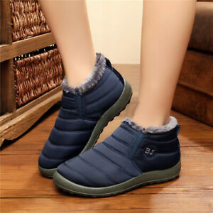 Women-039-s-Winter-Warm-Fur-Lining-Waterproof-Flat-Shoes-Slip-On-Ankle-Boots