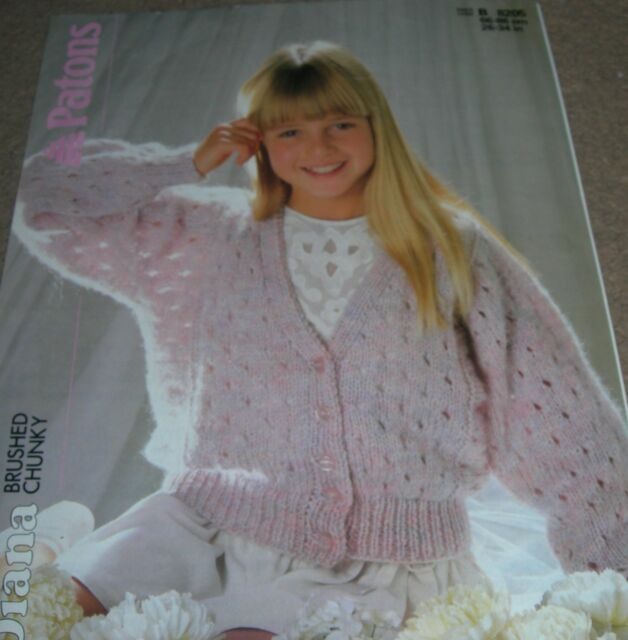 Vintage Patons Knitting Pattern Girls Chunky Lacy Dolman Cardigan