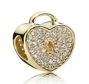 S925-sterling-silver-Padlock-Pave-Gold-Colour-Charms-fit-European-Bracelet