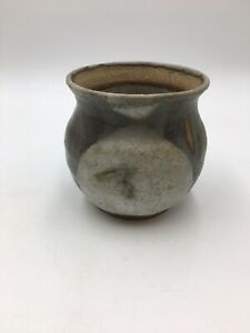 Vintage-Pottery-Jar-Small-Brown-Green