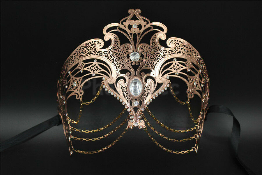 White Womens Egyptian Chain Venetian Laser-Cut Filigree Metal Masquerade Mask