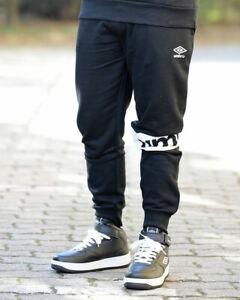 Umbro-Pantaloni-tuta-Pants-2019-Sweat-Felpa-garzata-Nero-con-tasche-Cotone
