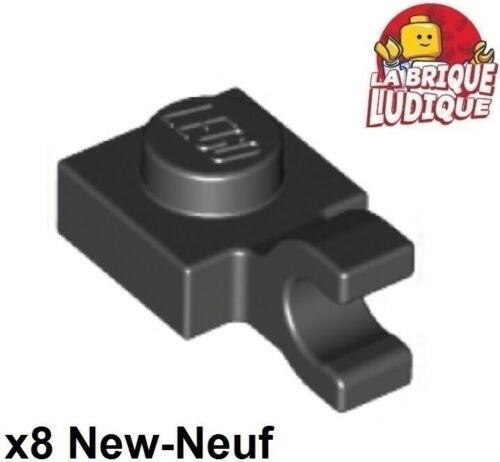 Lego x8 Plate Modified 1x1 Clip Horizontal O clip crochet noir//black 61252 NEUF