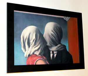 Rene-Magritte-lovers-framed-giclee-canvas-print-10-034-X13-6-034-poster-reproduction