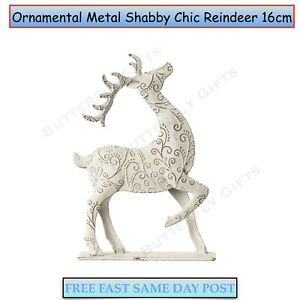 Standing-Metal-Shabby-Chic-Reindeer-Christmas-Xmas-Decoration-Ornament
