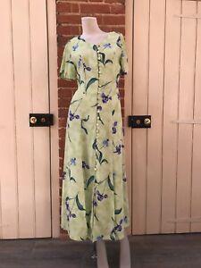 Vintage-90s-Green-Floral-Button-Through-Maxi-Dress-8-Tie-Back