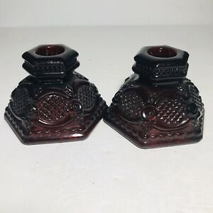 Avon-Cape-Cod-Ruby-Red-1876-Collection-Candlestick-Holders-Set-of-2