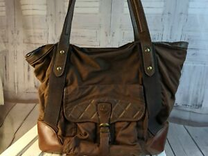 Details about VTG vintage Timberland tote purse handbag bag travel carry leather brown luggage
