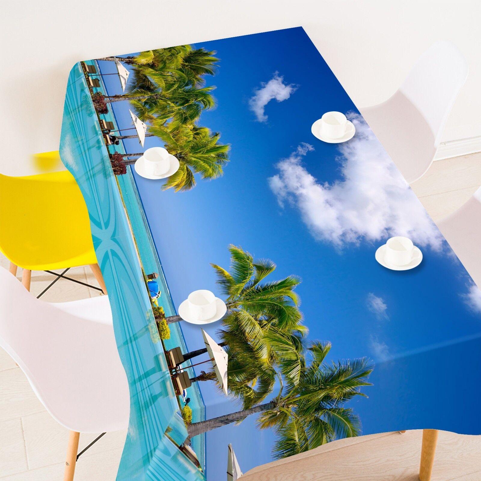 3D Palm bleu Sky 052 Tablecloth Table Cover Cloth Birthday Party Event AJ Lemon