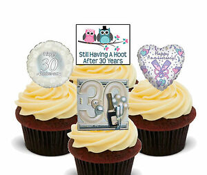 Image Is Loading 30th Anniversary Edible Cupcake Toppers Stand Up Cake