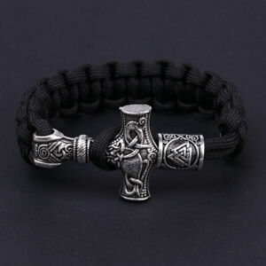 Antique-Silver-Viking-Hammer-Rune-Beads-Men-Leather-Handmade-Bracelets