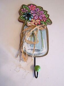 Wood Metal Flower Pink Turquoise Green Wall Hook Spring Summer House Decoration