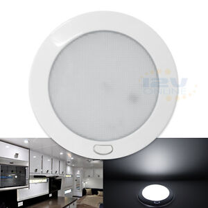 """Cool W 5"""" 12V LED Ceiling Dome Light with Switch RV Van Boat Interior Lighting"""