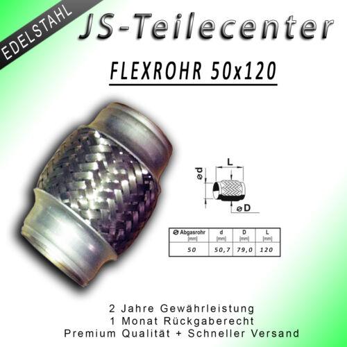 PREMIUM FLEXROHR FLEXSTÜCK UNIV KRÜMMERROHR HOSENROHR AUSPUFFROHR 50X120 MM