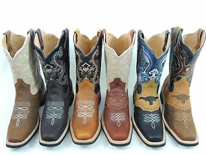 MEN-039-S-RODEO-COWBOY-BOOTS-GENUINE-LEATHER-WESTERN-SQUARE-TOE-BOTAS-SADDLE-WORK