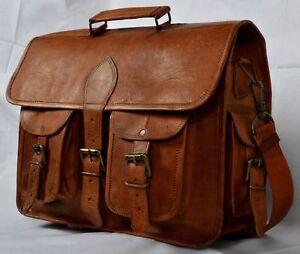 Vintage-Genuine-Leather-Laptop-Briefcase-messenger-satchel-bag-Shoulder-S-Brown