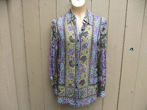 DANA-BUCHMAN-Womens-Sz-2-Green-Purple-Print-Long-Sleeve-Button-Down-Silk-Blouse