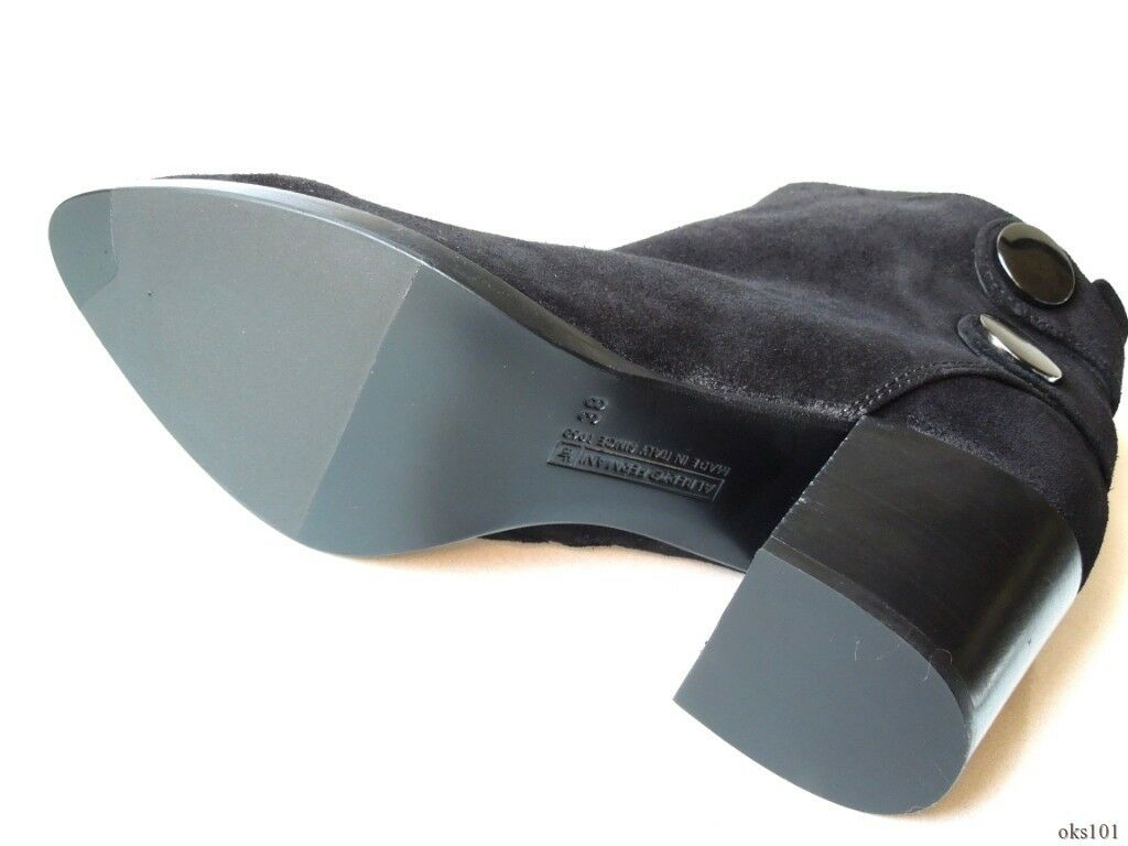 Nuevo Fermani  595 Alberto Fermani Nuevo Negro Gamuza Bloque Talón Tobillo botas 38 US 8-Fabuloso 8419f2