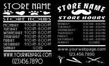 Custom Business Store Hours Sign Vinyl Decal Sticker 115x16 Wide Door Window