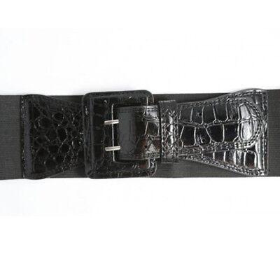 """Ladies Fashion Shiny Black Buckle Elasticated Waist Belt 3"""" Shiny Buckle 4 Size"""