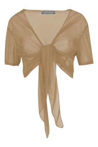 Ladies Tie Up Crop Mesh Shrug Womens Wrap Open Bolero Cardigan See Through Top