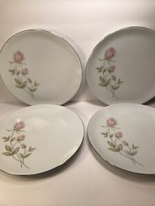 4 PRUDENTIAL CHINA DINNER PLATES BAVARIA GERMANY PINK ROSES  10 3/8''