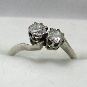 Antique / Vintage Platinum 0.70 carat 2 Stone Diamond Twist Ring Size Letter  L