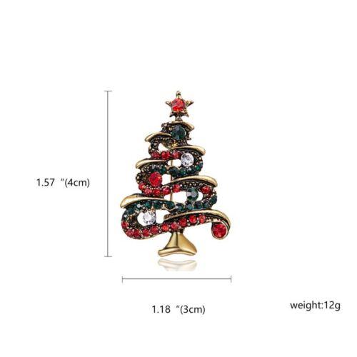 Fashion Crystal Rhinestone Christmas Tree Enamel Brooch Pin Women Jewelry Gift
