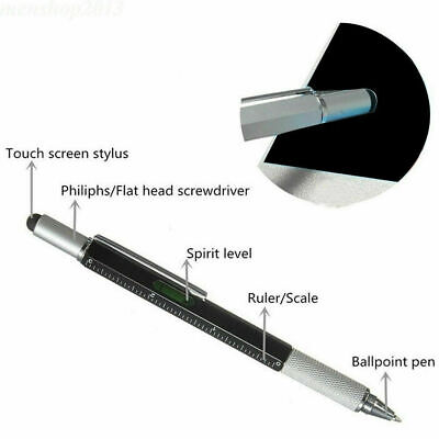 Touch Screen Tool Stylus Pen With Spirit Level Multitool Ruler Screwdriver 6 In1