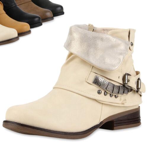 Damen Biker Boots Nieten Schnallen Stiefeletten UnSchuhe 811020 Top