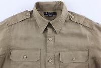 Men's Daniel Cremieux Khaki Tan Linen Pocket Safari Shirt L Large