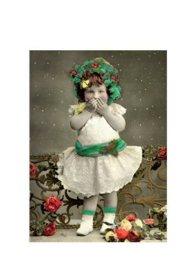 Victorian Trading Co Little Girl on Naughty List Christmas Cards Pack of 10