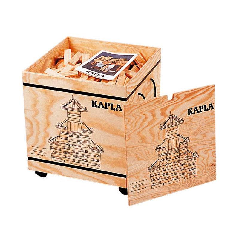 Kapla 1000er Holzkiste auf Rollen + 2 Bücher Pinienholz Bausteine NEU