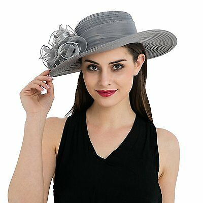 Women's Organza Wide Brim Floral Kentucky Derby Church Dress Tea party Hat T236