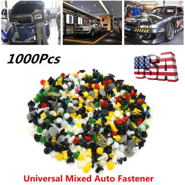 1000 Pcs Mixed Car Door Bumper Fenders Fastener Retainer Rivet Push Pin Clip A+