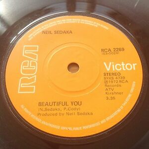 Neil-Sedaka-Beautiful-You-Anywhere-You-039-re-Gonna-Be-RCA-2269-1st-UK-Vinyl
