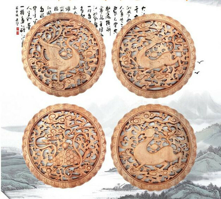 Chinese Hand Carved 荷花双鱼 Statue camphor wood round plate wall sculpture