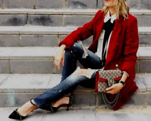 63de6156 Image is loading BNWT-ZARA-Burgundy-Red-Frayed-Jacket-with-Embellished-