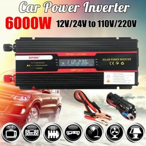 6000W Car Power Inverter DC 12V//24V to AC 110V//220V Modified Sine Wave Converter