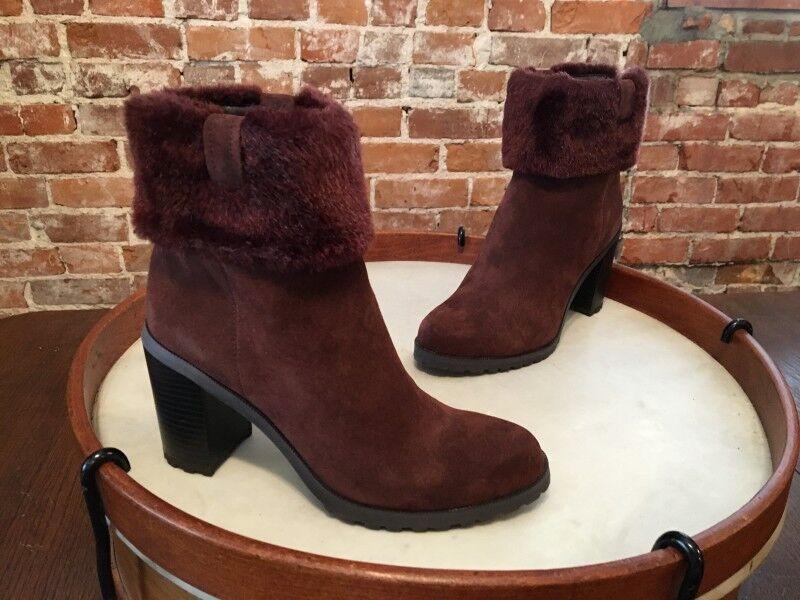 H by Halston Braun Suede & Fur Trim Cindy Ankle Boot 8 NEW
